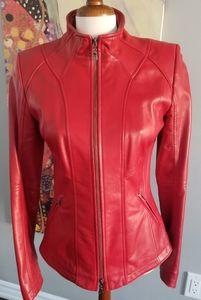 Danier red  genuine italian leather jacket
